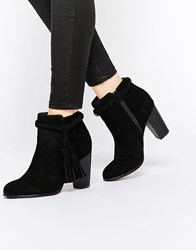 Faith Suzie Black Tassel Suede Ankle Boots Black
