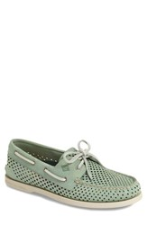 Men's Sperry 'Authentic Original' Perforated Leather Boat Shoe Green Leather