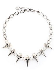 Majorica 8Mm 10Mm White Pearl Spike Chain Necklace Silver