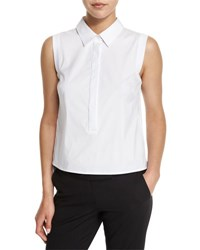 Milly Sleeveless Button Front Stretch Poplin Shirt White