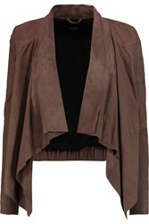 Muubaa Chester Draped Suede Jacket Brown