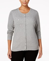 Charter Club Plus Size Embellished Cardigan Only At Macy's Heather Platinum