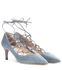 Valentino Rockstud Suede Lace Up Pumps Blue