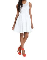 Plenty By Tracy Reese Illusion Stripe Pleated A Line Dress White