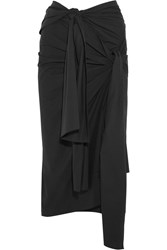 Joseph Alva Knotted Stretch Cotton Poplin Midi Skirt Black