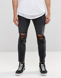 Asos Skinny Cropped Jeans With Extreme Rips In Washed Black Washed Black Blue