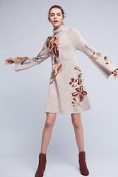 Anthropologie Embroidered Petals Swing Dress Brown Motif