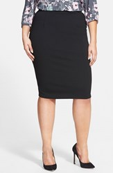 Plus Size Women's City Chic Back Zip Tube Skirt Black