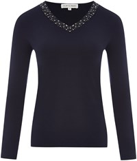 Austin Reed Navy V Neck Beaded Top Blue