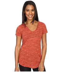 Alo Yoga Deep V Neck Shirt Sunbaked Marble Women's Short Sleeve Pullover Brown