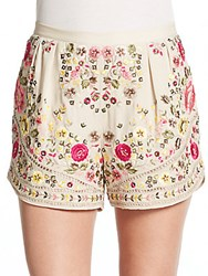 Haute Hippie Beaded And Embroidered Silk Shorts Buff Multi