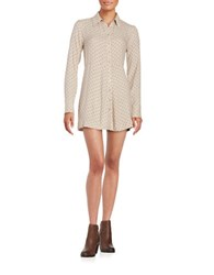 Free People Polka Dot Shirtdress Cream Combo