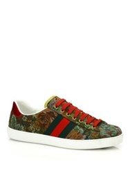 Gucci New Ace Floral Low Top Sneakers Green Multi