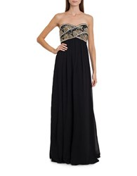 Js Collections Strapless Beaded Bodice Gown Black Silver