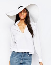 French Connection Wide Brim Floppy Straw Hat White