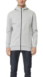 Zanerobe Foam Long Hooded Zip Sweatshirt Grey Marle