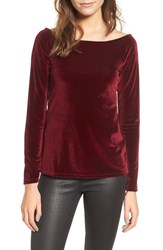 Project Social T Women's Velvet Boat Neck Tee Ruby