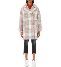 Closed Checked Wool Blend Coat Blanched Almond
