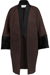 Amanda Wakeley Calf Hair Trimmed Ribbed Satin Coat