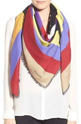 Women's Givenchy 'American Flag' Wool And Silk Scarf Black Multi