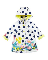 Catimini Polka Dot Button Front Raincoat White