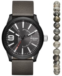 Diesel Men's Rasp Black Leather Strap Watch And Beaded Bracelet Set 46X53mm Dz1766