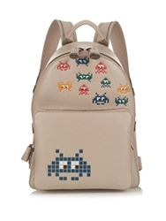 Anya Hindmarch Space Invaders Mini Leather Backpack Grey Multi
