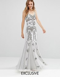 Maya Delicate Embellished Maxi Dress With Fishtail Grey