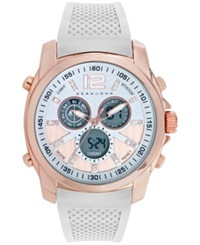 Sean John Men's Analog Digital White Silicone Strap Watch 49Mm 10025696