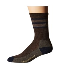 Smartwool Striped Hike Light Crew Chestnut Men's Crew Cut Socks Shoes Brown