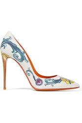 Dolce And Gabbana Printed Patent Leather Pumps White