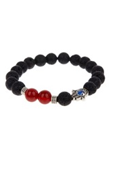 Jean Claude Stainless Steel Lava Stone And Agate Hamsa Beaded Stretch Bracelet Black