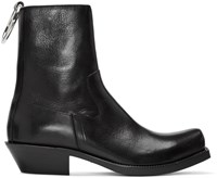 Vetements Black Leather Ring Ankle Boots