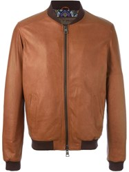 Etro Zipped Leather Jacket Brown