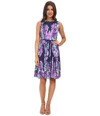 Adrianna Papell Floral Print Pleated Dress Navy Multi Women's Dress Blue
