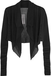 Rick Owens Cropped Paneled Open Knit Cotton Cardigan