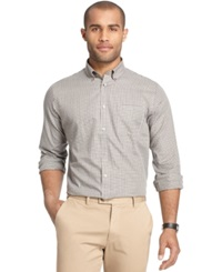 Van Heusen Long Sleeve Plaid Shirt Grey Gargoyle