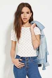Forever 21 Polka Dot Tee Cream Red