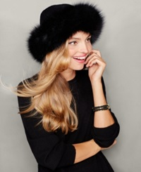 The Fur Vault Fox Fur Trim Cashmere Hat Black