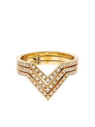 Ileana Makri White Diamond And Yellow Gold Triple V Rings