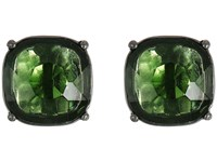 Lauren Ralph Lauren Hide And Chic Faceted Stone Clip Earrings Green Hematite Earring