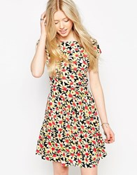 Jasmine Skater Dress In Daisy Print Red