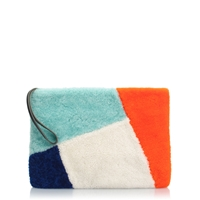J.Crew Collection Shearling Downing Pouch Indigo Orange Mint