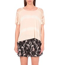 Allsaints Slash Shoulder Tie Dye Jersey Top Pink Chalk Whi