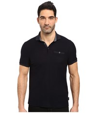 Ted Baker Dino Short Sleeve Textured Jersey Polo Navy Men's Short Sleeve Knit