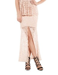 Bardot Valerie Lace Maxi Skirt Pink