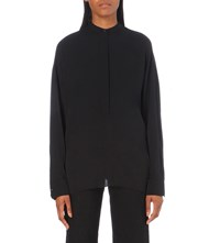 Helmut Lang Relaxed Fit Stretch Silk Shirt Black