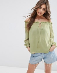 Asos Pretty Sheer Off The Shoulder Top Green
