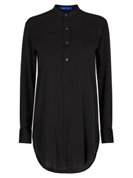Winser London Long Length Silk Tunic Shirt Black