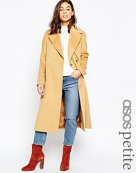 Asos Petite Coat In Midi With Stab Stitch Detail Camel